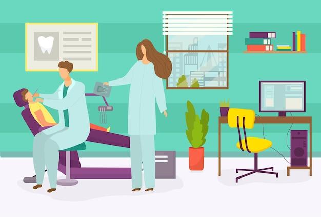 Tandarts arts behandelen kind vector illustratie tandheelkundige kliniek kantoor met kind patiënt karakter sit i...