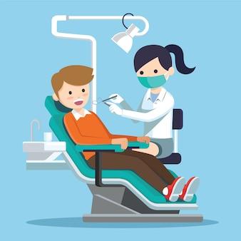 Tandarts arts die patiënt onderzoekt