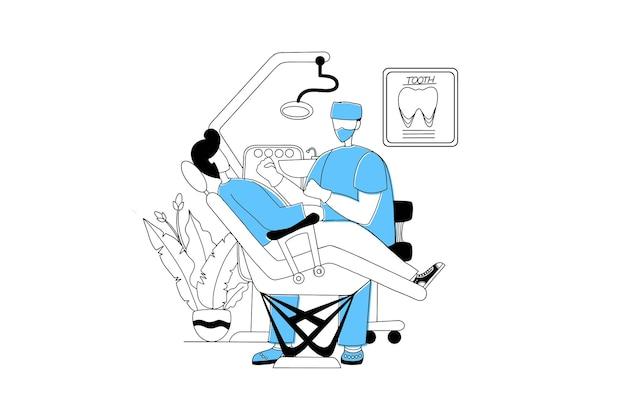 Tandarts controleert een patiënt in de kliniek