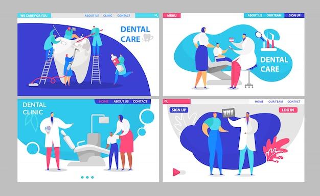 Tandarts de bezoekende die pagina's van de artsenbezoek met patiënten in tandkliniek, gezonde tandbehandeling en de uiterst kleine illustratie van doktersmensen worden geplaatst.