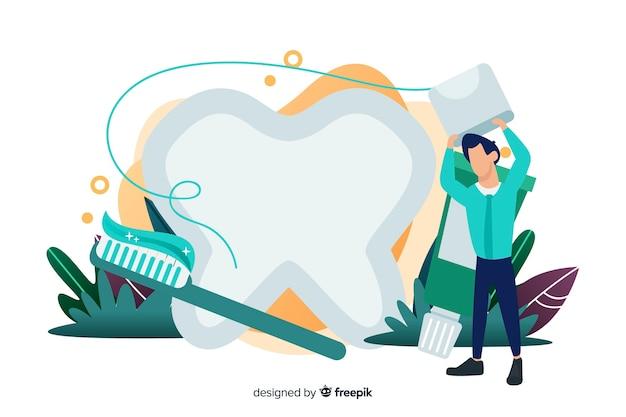 Tandarts die grote tandachtergrond schoonmaken