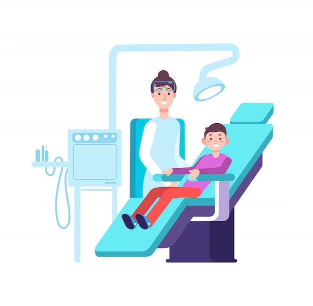Tandarts en kind patiënt. arts examens childs tanden in tandartspraktijk. tandheelkunde, mondhygiëne en stomatologie vectorconcept