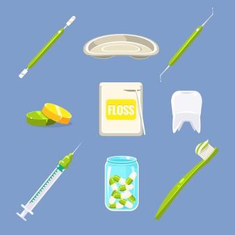 Tandarts en tanden zorg set