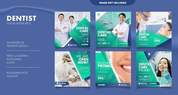 Tandarts en tandheelkundige zorg social media postsjabloon