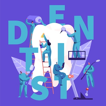 Tandarts karakter zorg voor grote witte tand typografie banner. tandheelkundige kliniek achtergrond. medicijnmensen werken in de stomatologie met tandenborstel reclame poster concept platte cartoon vectorillustratie