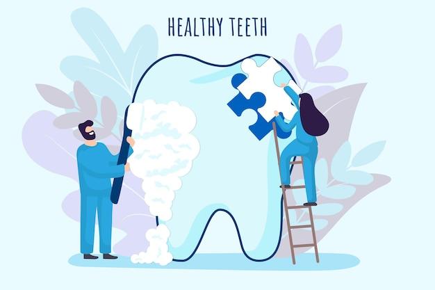Tandarts kleine mensen zorgen voor tand tandheelkundige kliniek medicijnmensen werken in de stomatologie met tandenborstel