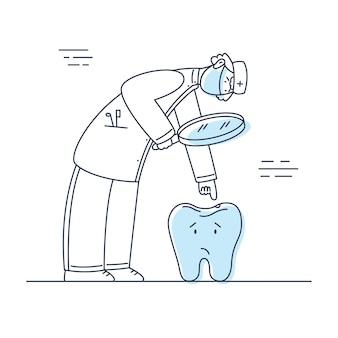 Tandarts met medisch masker die naar slechte tand kijkt met cariës stomatoloog karakter op het werk