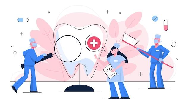 Tandarts. tandheelkunde concept. idee van tandheelkundige zorg en mondhygiëne. geneeskunde en gezondheid. stomatologie en tandbehandeling. illustratie