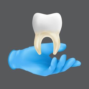 Tandartshand die blauwe beschermende chirurgische handschoen draagt die een keramisch model van de tand houdt. realistische illustratie van het concept van het enten van bot en zacht weefsel dat op een grijze achtergrond wordt geïsoleerd