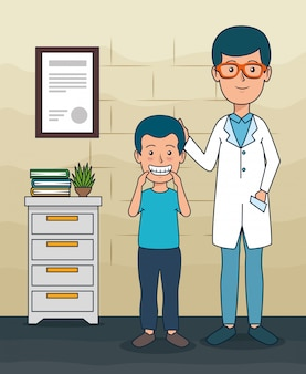 Tandartsmens met geduldige jongen en tandenzorg