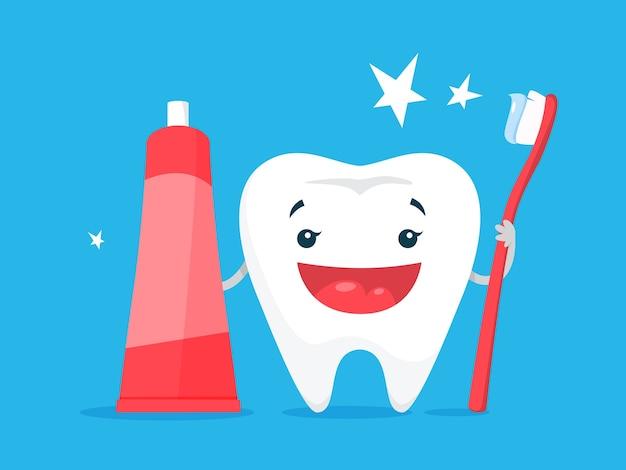 Tanden bleken concept. tand wordt wit in tandheelkundige kliniek. bescherming en behandeling concept. illustratie