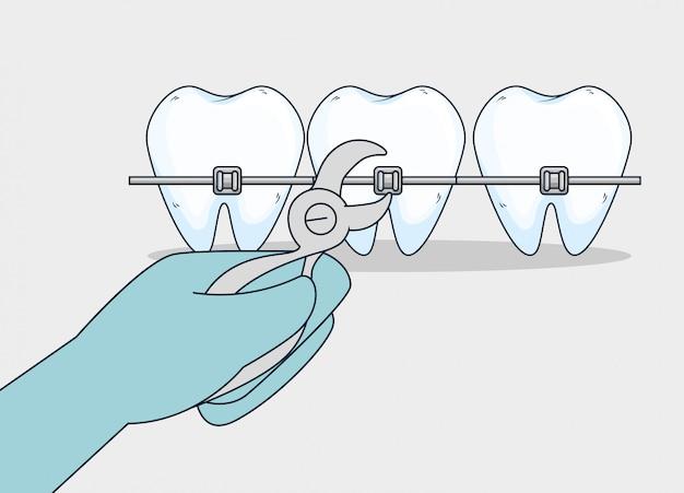 Tanden gezondheidszorg behandeling met tandextractor