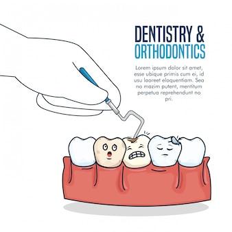 Tanden gezondheidszorg behandeling met tandheelkundige sonde