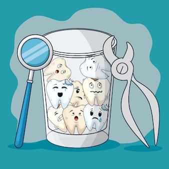 Tanden in het glas met mondspiegel en tandextractor