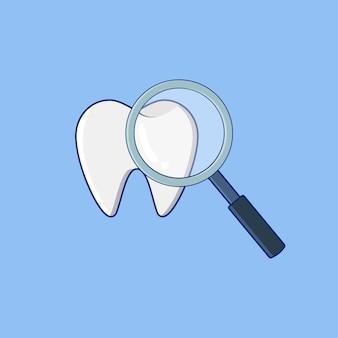 Tanden met vergrootglas platte vectorillustratie