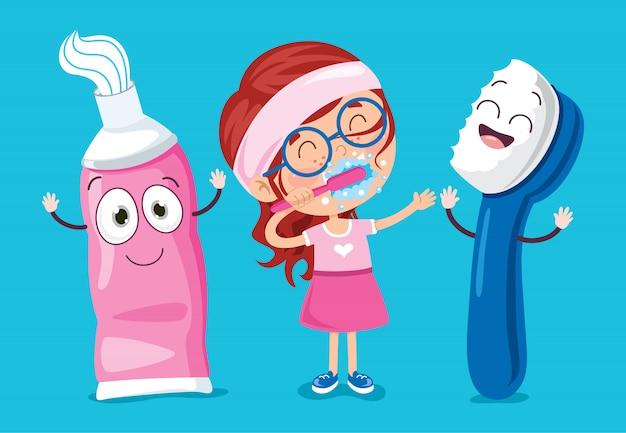 Tanden poetsen concept met stripfiguur