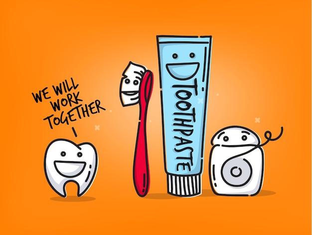 Tanden tekenfilms oranje