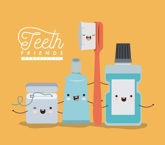 Tanden vrienden tandheelkundige zorg kawaii set