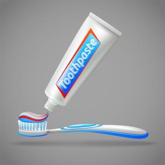 Tandenborstel en tandpasta ontwerp pictogrammen