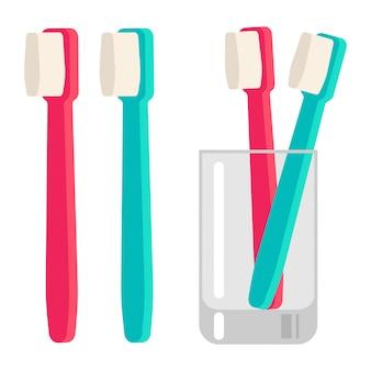 Tandenborstel in glazen beker vector cartoon vlakke afbeelding geïsoleerd op een witte achtergrond.