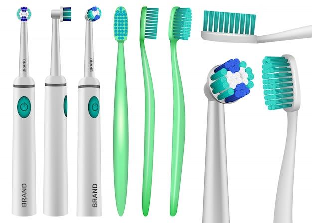 Tandenborstel tandheelkundige mockup set