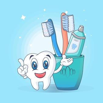 Tandenborstel zorg leuk concept, cartoon stijl
