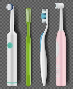 Tandenborstels realistisch. dagelijkse ochtendhygiëne mondreiniging tandartikelen promo close-up borstel