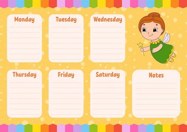 Tandenfee. schoolrooster. tijdschema voor schooljongens. leeg sjabloon.