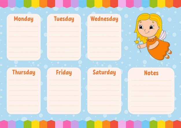 Tandenfee. schoolrooster. tijdschema voor schooljongens.