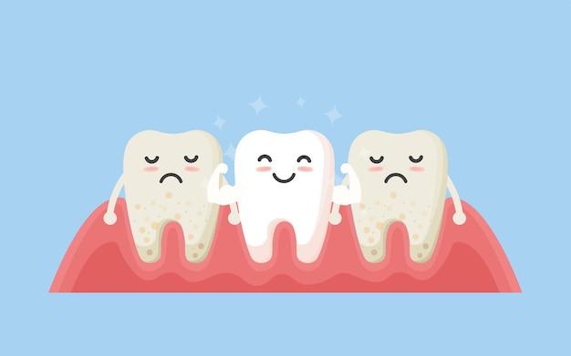 Tandenreiniging. tandenkarakters voor en na het bleken. cartoon tand voor en na het reinigen of bleken of tandheelkundige ingrepen.