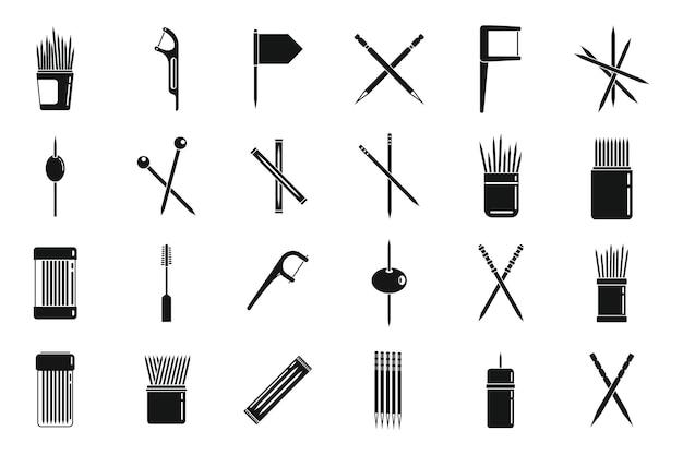 Tandenstoker pictogrammen instellen eenvoudige vector. schoon accessoire