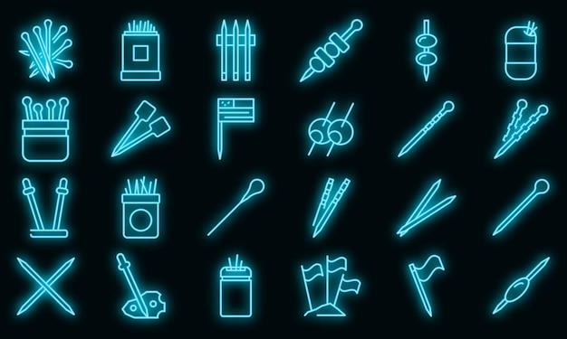Tandenstoker pictogrammen instellen. overzicht set van tandenstoker vector iconen neon kleur op zwart