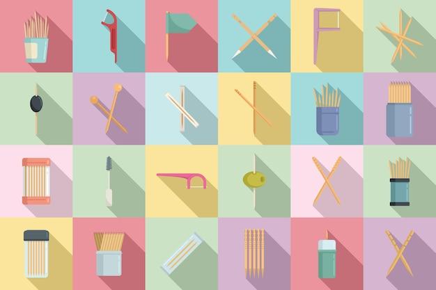 Tandenstoker pictogrammen instellen platte vector. schoon accessoire