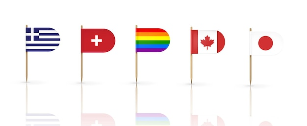 Tandenstoker vlaggen van landen. griekenland, zwitserland, canada, japan en lgbt regenboogwimpel op houten puntige stokken
