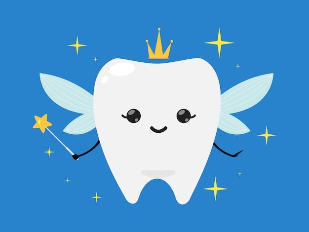 Tandfee draagt een kroon en houdt een toverstaf vast