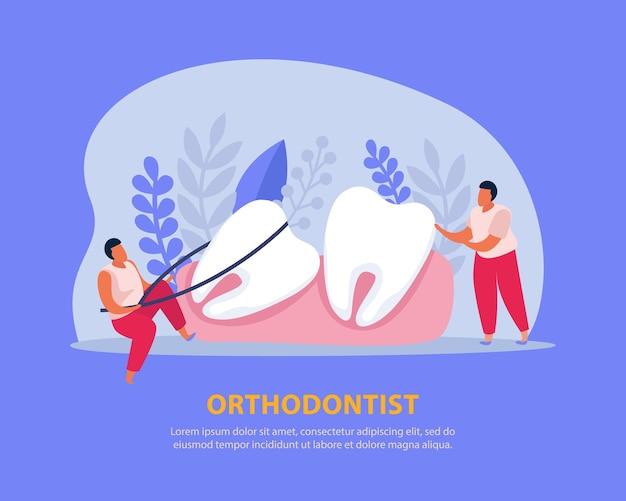 Tandgezondheid platte kleurcompositie met bewerkbare tekst en menselijke karakters die voor de tanden tussen haakjes zorgen