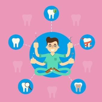 Tandgezondheidsbanner met mannelijke tandarts