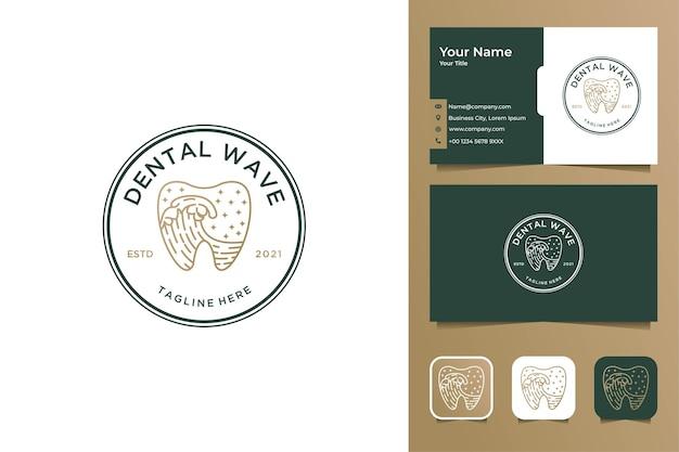 Tandgolf vintage logo-ontwerp en visitekaartje Premium Vector