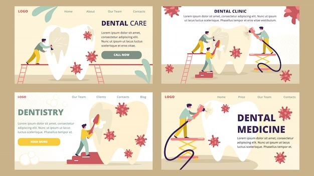 Tandheelkunde en tandheelkundige kliniek geneeskunde zorg bestemmingspagina sjabloon