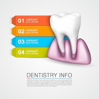 Tandheelkunde info medische kunst creatief. vectorillustratie
