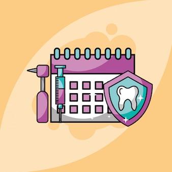 Tandheelkunde kalender spuit tooh tandheelkundige boor