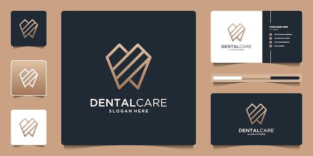 Tandheelkunde kliniek logo ontwerp met geometrische lijn abstracte tandheelkundige logo en visitekaartje