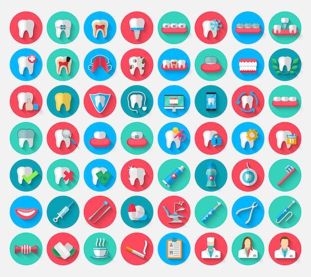 Tandheelkunde pictogrammen geïsoleerd in platte ontwerpstijl.
