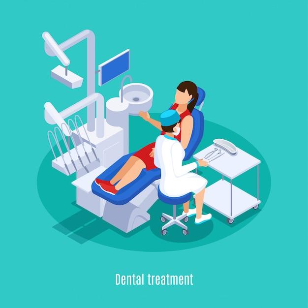 Tandheelkunde tandheelkundige orale geneeskunde praktijk isometrische samenstelling met vrouwelijke patiënt checkup behandeling mint groene achtergrond