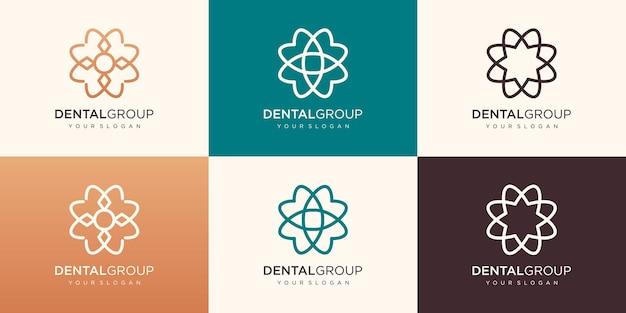 Tandheelkundig logo met een ronde vorm, premium, creatief, modern tandenlogo.