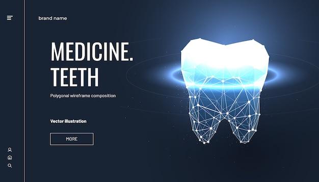 Tandheelkundige bestemmingspagina in veelhoekige draadframe-stijl