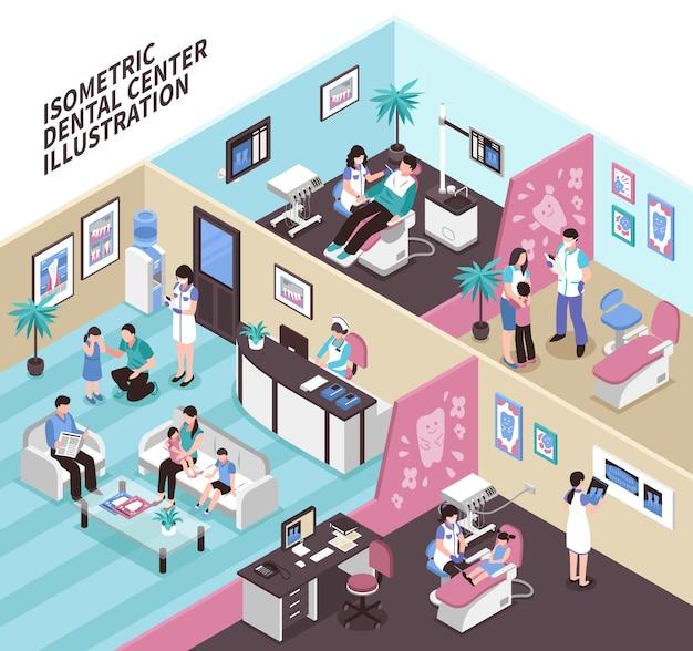 Tandheelkundige centrum isometrische illustratie