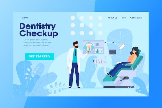 Tandheelkundige controle online afspraak, tandheelkundige kliniek patiënt, vectorillustratie