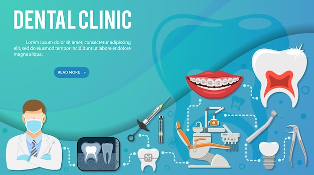 Tandheelkundige diensten infographics met mondhygiëne en tandheelkundige kliniek. pictogrammen in vlakke stijl arts, tandartsstoel, tand en beugel. vector illustratie