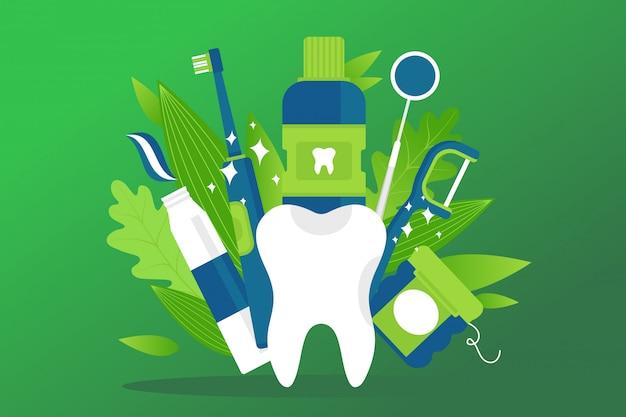 Tandheelkundige gezondheid element, preventie behandeling illustratie. witte cartoon gezonde tand, tandpasta, tandenborstel, mondwater